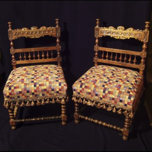 Pair of chairs, Spanish, 18th century. Restored. Inches 29h x 18 x 19d