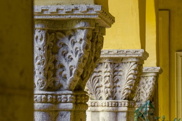 stone carved columns for courtyard