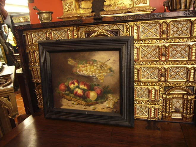 17th Century gilded cabinet and miscellaneous