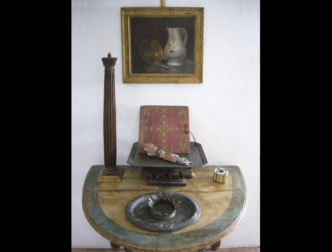 Composition with 18th century table.