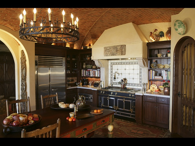 Kitchen brick ceiling, hood with antique stone, furnishings.