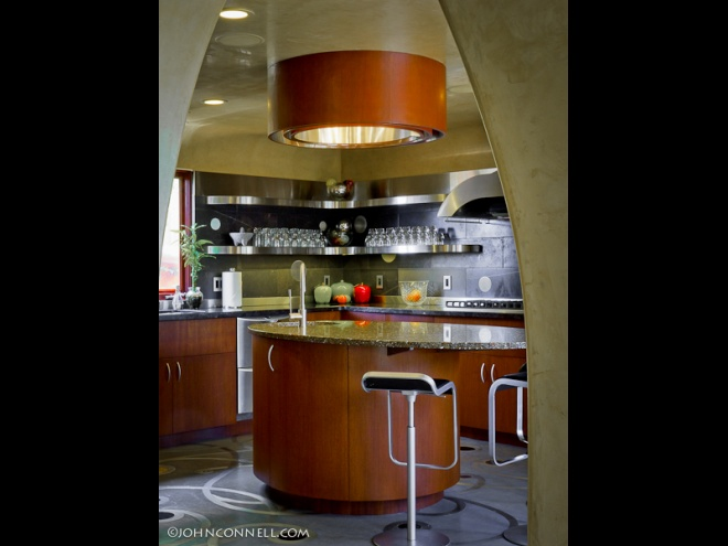 Kitchen cabinets, lights, floors designs.